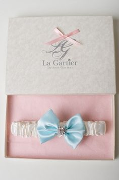 The Blue Evelyn wedding garter, available from www.lagartier.com