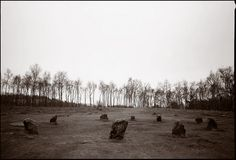 The Nine Ladies of Stanton Moor, Derbyshire, England. Neolithic stone circle, (each about 3 ft. high, circle is 33 ft. in diameter), c. 2000-1000 BC; according to legend, the nine standing stones are witches caught dancing on the Sabbath to the sounds of the Devil's fiddle playing. Photograph copyright 1996. ... chinese johnny