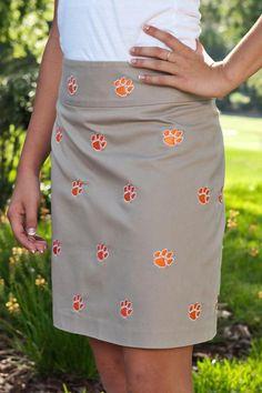 Clemson Khaki Skirts - Women I need this for Bengal Wednesdays at work!!