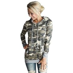 Women BlouseCanserin Womens Camouflage Printing Pocket Hoodie Sweatshirt Hooded Pullover Tops Blouse M Camouflage -- You can find out more details at the link of the image.