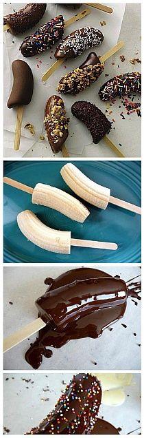 Bananen in Schokolade und Cupcakes ♥ - bread cake healthy muffins pudding recipes chocolat plantain recette recette Frozen Desserts, Just Desserts, Delicious Desserts, Dessert Recipes, Desserts Nutella, Baking Desserts, Yummy Treats, Sweet Treats, Snacks
