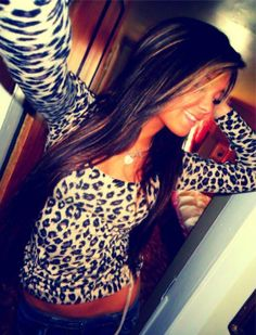 Cheetah shirt, but I LOVE her hair :) Swag Style, My Style, Gorgeous Hair, Swagg, Dress Me Up, Cute Tops, Passion For Fashion, Fashion Outfits, Fashion Tips