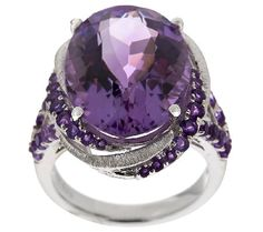 Oval Amethyst Sterling Silver Bold Ring 11.00 ct tw