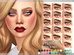 Maxis Match Eyebrow Pack N01 by Pralinesims at TSR via Sims 4 Updates