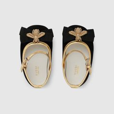 Baby suede ballet flat with bee