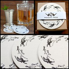 These Tally Ho Letterpress Coasters from Pheasant Press are the perfect equestrian accessory for your derby day mint julep!