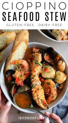 Cioppino is a comforting San Franciscan seafood stew filled with shrimp, clams, mussels, white fish, and crab legs simmered in a rich broth made from tomatoes, white wine, and fish stock. A family favorite, enjoy this easy and delicious one-pot Cioppino Recipefor a special weeknight or holiday meal.