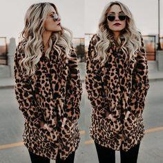 M Leopard Jacket Women Faux Fur Top Warm Casual Winter Overcoat Long Sleeve Coat Leopard Jacket, Faux Fur Jacket, Fur Coat, Wool Coat, Coats For Women, Jackets For Women, Color Style, Leopard Fashion, Oversized Coat