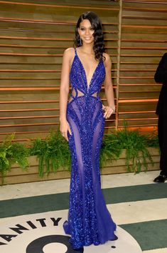 Model Chanel Iman attends the 2014 Vanity Fair Oscar Party hosted by Graydon Carter on March 2, 2014 in West Hollywood, California.