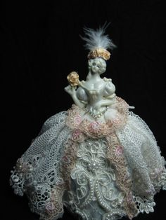 Marie Antoinette Half Doll Pincushion doll in porcelain. New by Kay Brooke.Ice blue skirt w/hand beaded exquisite lace skirt