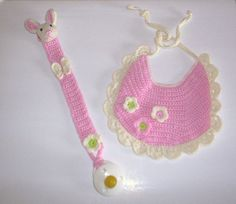 CROCHET PATTERN. Baby bib with flowers and pacifier holder with rabbit. via Etsy