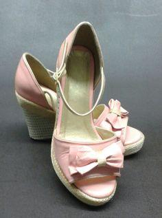 Plataforma Cuero Rosa y Dorado ♥
