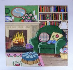 Handpainted Needlepoint CANVAS Sandra Gilmore LIBRARY by CLGifts, $259.99