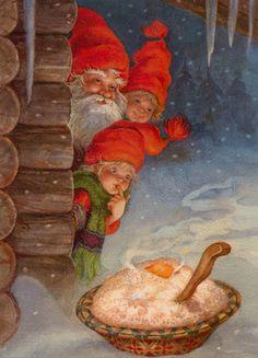 Tomte spotting his Christmas porridge left by a family