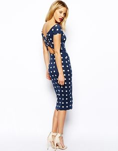 Asos bardot polkadot dress