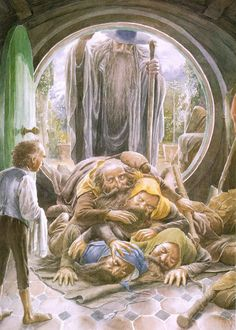The arrival of Thorin and Company at Bag End by Alan Lee