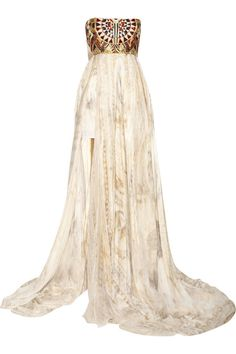 Embellished printed silk-crepe gown by Balmain High Fashion Dresses, Casual Dresses, Fashion Outfits, Expensive Clothes, Cinderella Dresses, Silk Crepe, Formal Gowns, Printed Silk, Types Of Fashion Styles