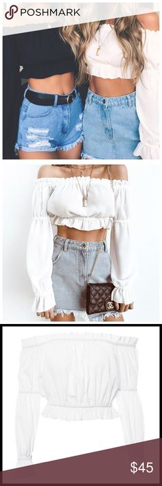 80cc760cefca6 White off shoulder long sleeve ⭐ Ruffle sleeve chiffon white crop top Love  love adorable off shoulder see through long sleeve top 💕 More ...