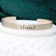 Blessed Bracelet  Hand Stamped Bracelet  by 3LittlePixiesShoppe