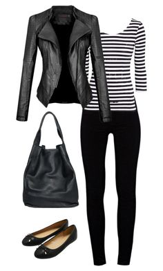 simple black by nespressita on Polyvore featuring moda, J Brand, M&Co and christopher. kon