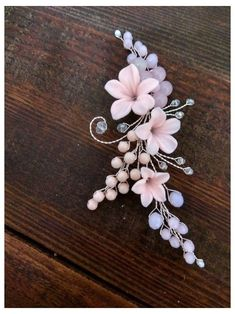 Items similar to Bridal hair piece Bridal hair vine Pink Clay Bridal hair vine Wedding hair piece Wedding hair Accessories Wedding hair vine Beach wedding on Etsy Bridal hair piece Bridal hair vine Pink Clay Bridal hair vine image 3 Wedding Hair Brunette, Beach Wedding Hair, Wedding Hair Pieces, Bridal Hair Flowers, Bridal Hair Pins, Bridal Hairpiece, Flower Hair Accessories, Wedding Hair Accessories, Braut Make-up