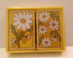 1970's Hallmark Bridge Playing Cards Daisy Delight design 2 pack in original case