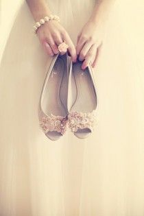 DIY your bridal shoes - Satin Flats for the party buy just a plain nude colored pair, then find two sequin applique headbands and glued them onto the shoes with grip. very easy to have chic and unique flats, and handmade