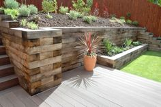 Retaining wall from railway sleepers