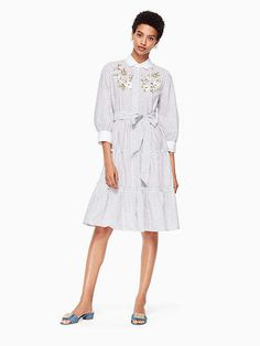 Embroidered puff sleeve dress 👗 #ad