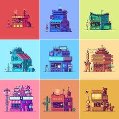 Game design 445856431862884154 - Brandon James Greer : pixel art of various storefronts / stands – pixelart Source by raaeno Japon Illustration, Digital Illustration, How To Pixel Art, Arte 8 Bits, Pixel Art Background, Pixel Animation, 8bit Art, Isometric Art, Pixel Design