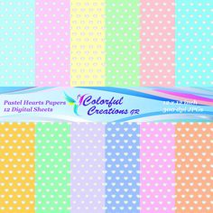 Pastel Hearts Set Digital Papers For Personal And Commercial