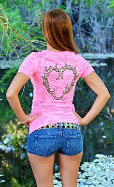 Fashionable neon pink heart antler burnout shirt on Wanelo