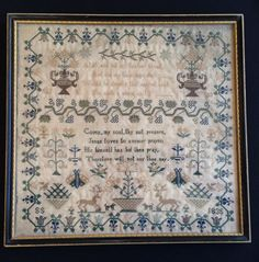 Beautiful Antique Framed Needlework Sampler England 1835