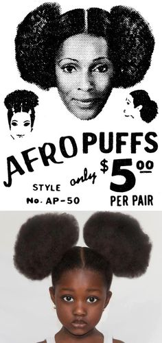 Afro Puffs 4 sale 😆 this is 2 cute, funny & neat.the baby girl is adorable with the real thing 😻 Natural Hair Art, Be Natural, Natural Styles, Going Natural, Natural Beauty, Twisted Hair, Hair Puff, Foto Art, My Black Is Beautiful