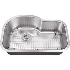 Schon SCSBE18 Undermount 18-Gauge Single Bowl Kitchen Sink with Curved Back 31 1/2-Inch by 21-Inch, Stainless Steel