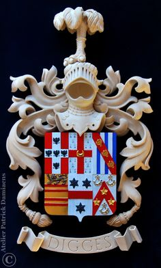 Coat of arms carved in limewood   Digges family crest   heraldic woodcarving with heraldic colors   http://www.patrickdamiaens.be
