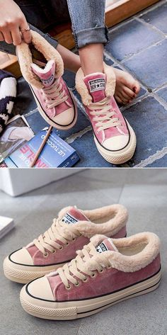 $42.99 USD Sale! Free Shipping! Shop Now! Womens Platform Canvas Snow Sneakers