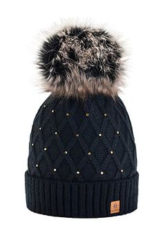 Wurm Winter Strickmütze Mütze Damen Kristalle Kiesel mit Große Pelz Bomme Pompon l SKI (Black) ( MFAZ Morefaz Ltd): Amazon.de: Bekleidung
