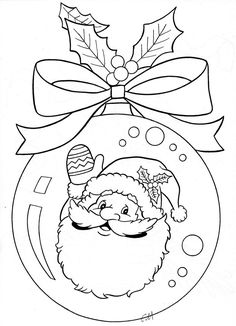 Santa ornament coloring page:
