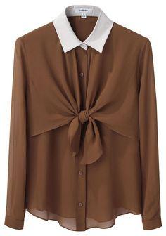 caravan tie from blouse Tie Front Blouse, Tie Neck Blouse, Front Tie Top, Ruffle Blouse, Brown Long Sleeve Shirt, Long Sleeve Tops, Long Sleeve Shirts, Carven, Shirt Blouses