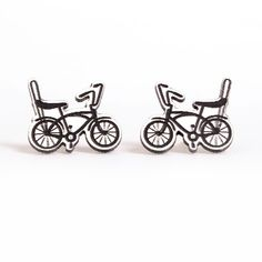 White Bike Earrings - Aretes bicicleta blanca