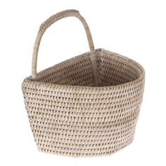 La Jolla Rattan Wall Basket, Small, White Wash