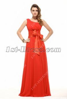 Plain Red Chiffon Cheap Evening Dress:1st-dress.com