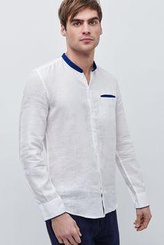 Camisa con cuello mao en marino - LABEL_NUEVO | Adolfo Dominguez shop online