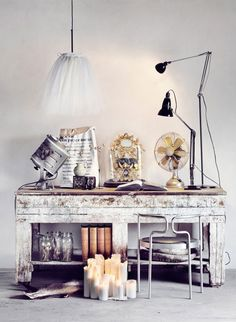 I love weathered and worn furniture....the lighting and vintage fan. sfgirlbybay / bohemian modern style from a san francisco girl / page 2
