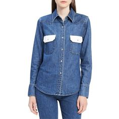 Calvin Klein Jeans Women's Western Contrast Cotton Button-Down Shirt ($118) ❤ liked on Polyvore featuring tops, dark blue, western shirts, long sleeve shirts, western long sleeve shirt, button-down shirts and dark blue shirt