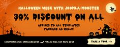 The #Halloween week with Joomla-Monster has just launched! Take what you want 30% OFF! It's a great opportunity to buy a professional #Joomla #template and get #extension for such a low price! The offer is valid till 1st November.