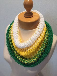 Knit cowl Scarf green and gold Oakland Athletics colors inspired Green Bay  Packers color inspired b6825a6e9