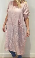 lagenlook ladies linen dress made in italy one size plus size