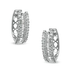 689907a7204d 1 2 CT. T.w. Round and Baguette Diamond Hoop Earrings in 10K White Gold